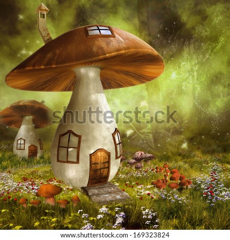 Fantasy meadow with colorful mushroom houses - stock photo