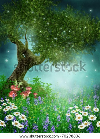 Fantasy meadow with daisies and green tree
