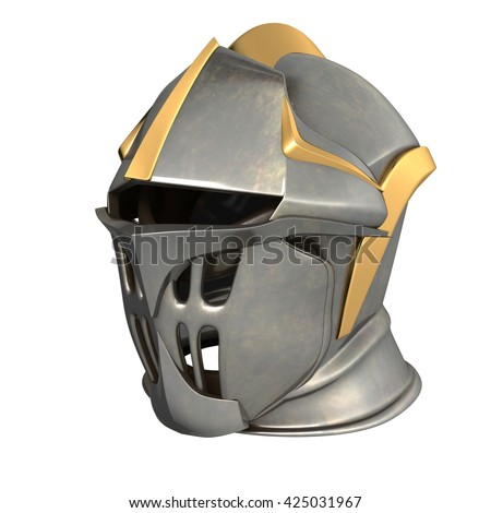 fantasy medieval helmet 3d illustration on a white background