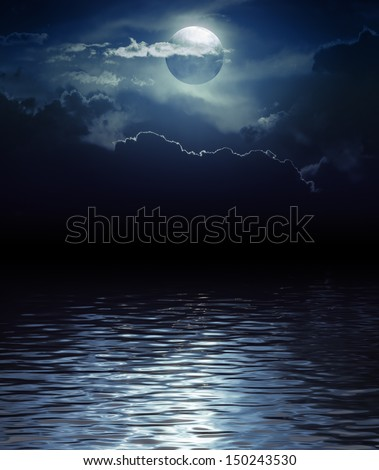 Fantasy Moon and Clouds over water (Elements of this image furnished by NASA) - stock photo