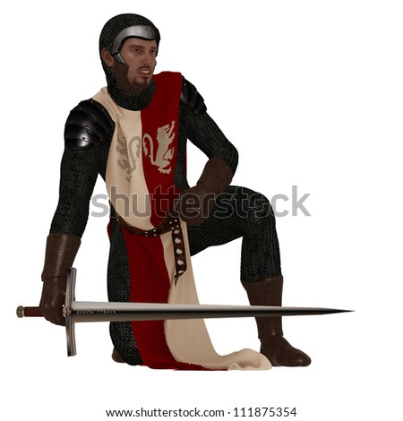 Fantasy Norman style medieval soldier in chain mail and tabard holding sword - stock photo