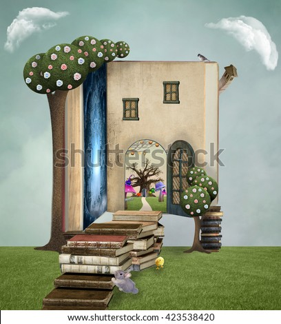 Fantasy opened book - 3D and digital painted illustration - stock photo
