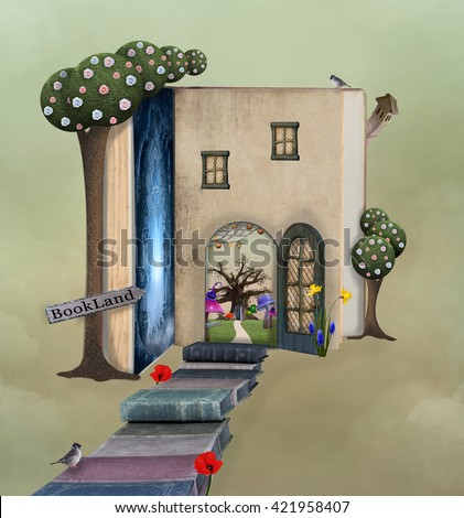 Fantasy pathway to the book house - 3D and digital painted illustration