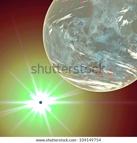 Fantasy planet and sun in space to background - stock photo