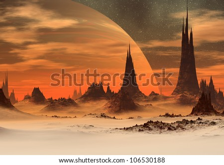 Fantasy Planet with Moon - stock photo