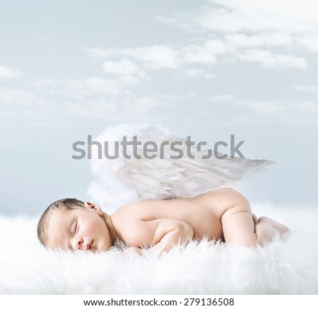 Fantasy portrait of a cute little newborn baby - stock photo