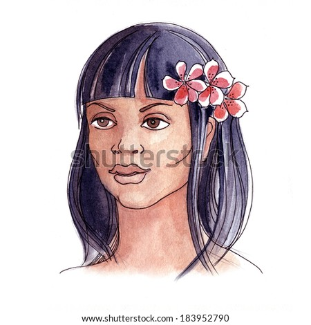 Fantasy portrait of a girl with flowers painted in watercolor and ink - stock photo