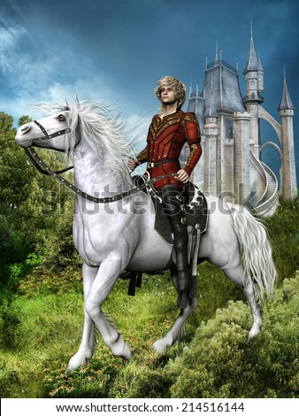 Fantasy prince on a white horse near a fairytale castle - stock photo