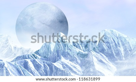 Fantasy scene of the ice planet from somewhere in the universe