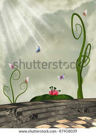 fantasy scene on a balcony with flowers and butterflies - stock photo