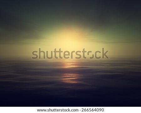 fantasy scene tranquil ocean  - stock photo