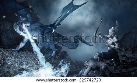 Fantasy scene with archer shooting at the blue dragon