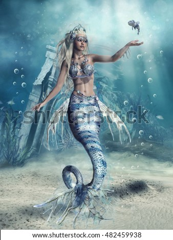 Fantasy scenery with a mermaid and a fish at the sea bottom. 3D illustration.