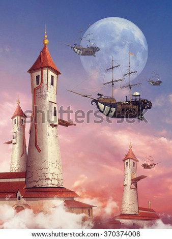 Fantasy scenery with a moon, colorful towers, and flying ships