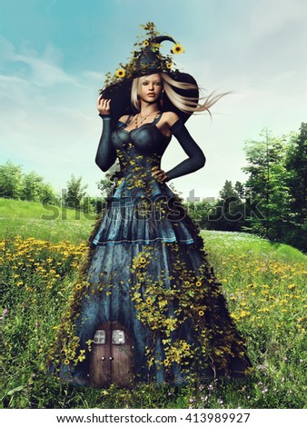Fantasy scenery with a woman with flowers and ivy on a spring meadow. 3D illustration.
