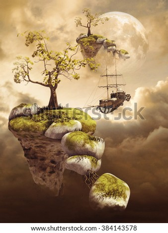 Fantasy scenery with flying islands in the clouds, an airship and the moon - stock photo