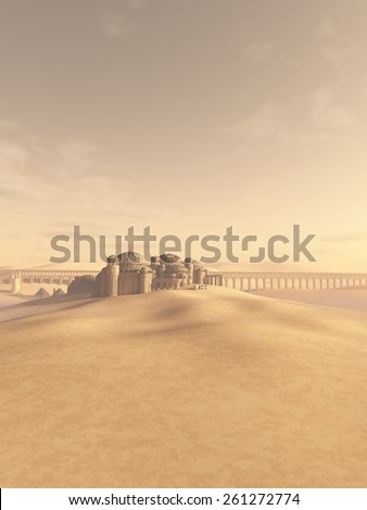 Fantasy science fiction illustration of a distant town and aqueduct swallowed by the desert sand, 3d digitally rendered illustration