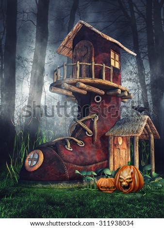 Fantasy shoe house with Halloween pumpkins in a dark forest - stock photo