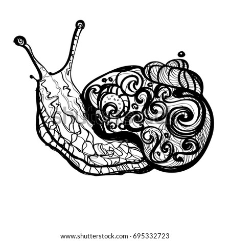 Elegant Fantasy Sketch Of Snail Hand Drawn Doodle Outline Illustration Decorated  With Abstract Ornaments. Abstract Monochrome