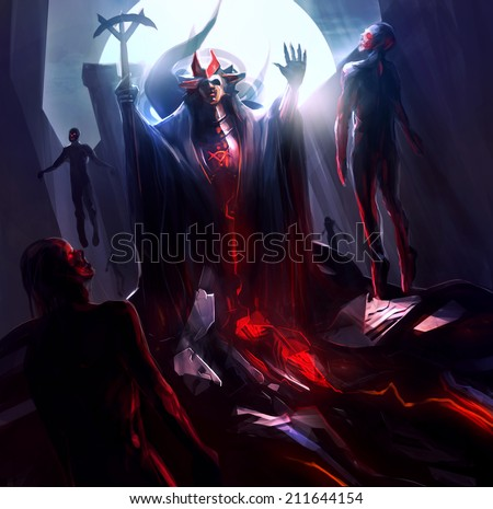Fantasy sorcerer. Fantasy sorcerer raising and resurrecting zombies with magic. - stock photo