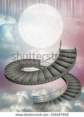 Fantasy stairway in the sky with big moon