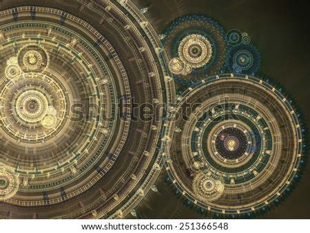 Fantasy steampunk design,abstract fractal machine - stock photo