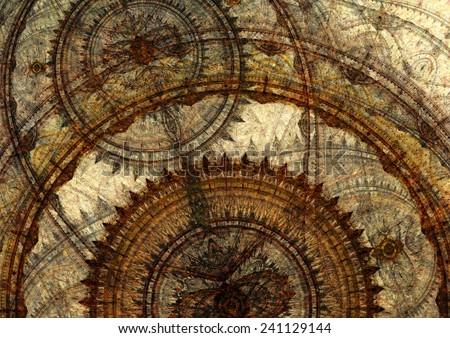 Fantasy steampunk design, circle cogwheels design - stock photo