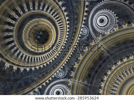 Fantasy steampunk design, mechanical abstract - stock photo