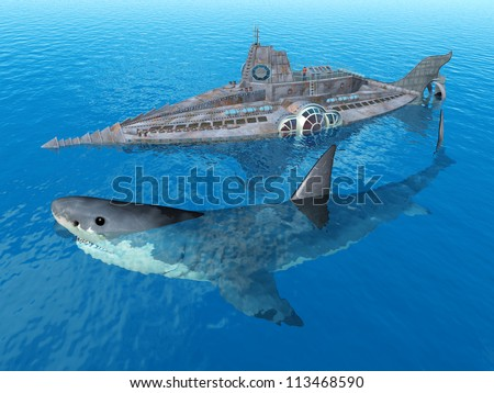 Fantasy Submarine with Giant Shark Computer generated 3D illustration - stock photo