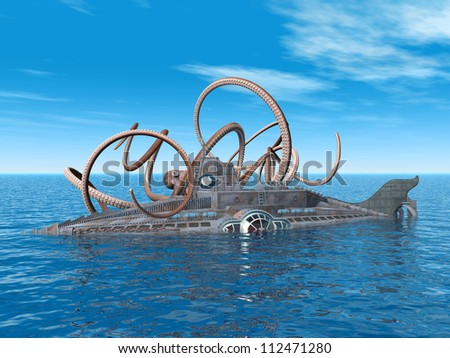 Fantasy Submarine with Octopus Computer generated 3D illustration - stock photo