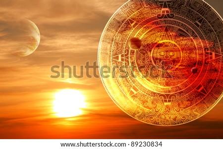 Fantasy sunset and Maya calendar - stock photo