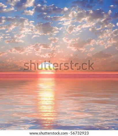 Fantasy Sunset Render - stock photo