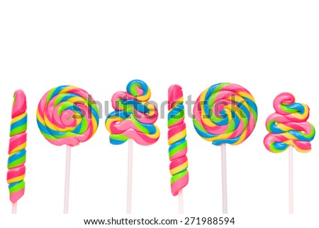 Fantasy sweet candy land with lollies isolated on white background - stock photo
