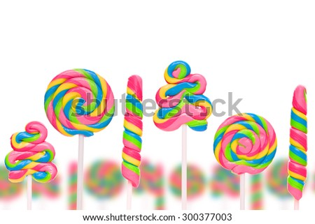 Fantasy sweet candy land with lollies isolated on white background