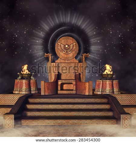 Fantasy throne with Celtic ornaments and burners at night - stock photo