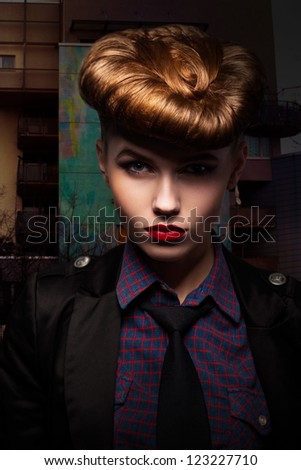 Fantasy. Trendy and Classy Girl Portrait. Glamour - stock photo