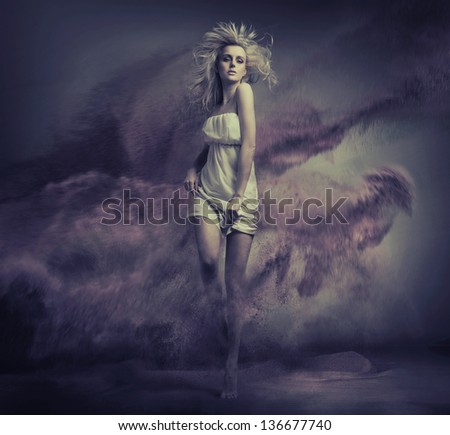 Fantasy type image of cute young beauty - stock photo