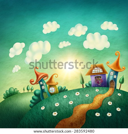 Fantasy village with funny houses - stock photo