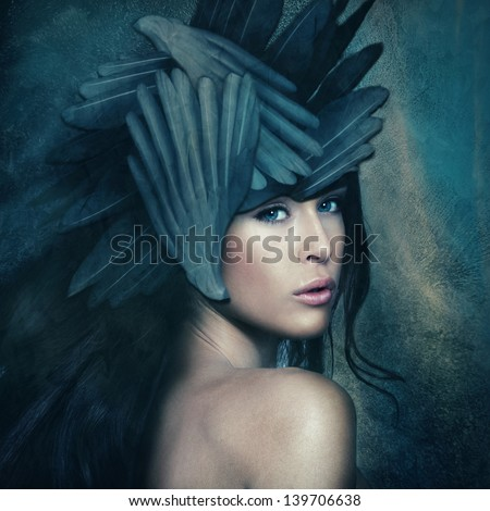 fantasy warrior goddess with helmet, small amount of grain added - stock photo