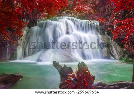 Fantasy waterfall and green forest Resting Place and relax time - stock photo