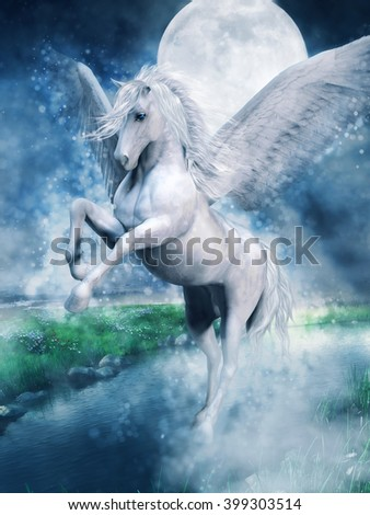 Fantasy white pegasus flying over a lake at night. 3D illustration.