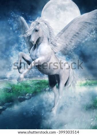 Fantasy white pegasus flying over a lake at night. 3D illustration. - stock photo