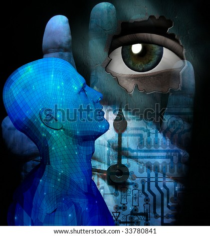 Fantasy with eye and clock - stock photo