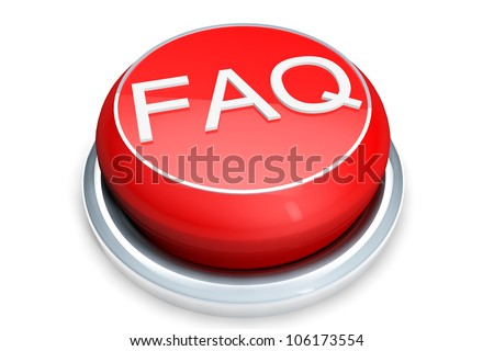 Faq Button Concept. Red Button on a white background - stock photo