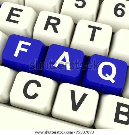 FAQ Computer Keys In Blue Showing Information And Answer
