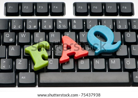 FAQ concept with letters on keyboard - stock photo