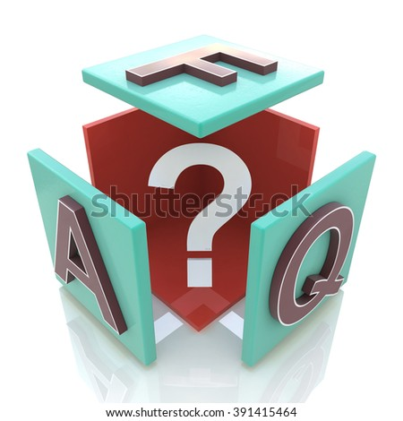 faq cube in the design of information related to internet - stock photo