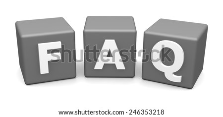 Faq cubes 3d illustration isolated on white - stock photo