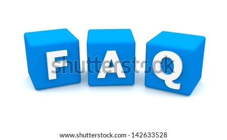 Faq cubes 3d render illustration isolated on white - stock photo