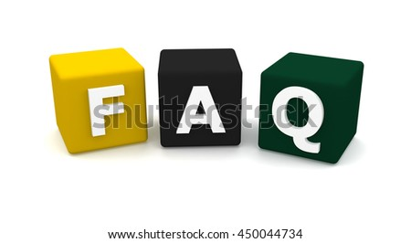 Faq cubes 3d render illustration isolated on white background